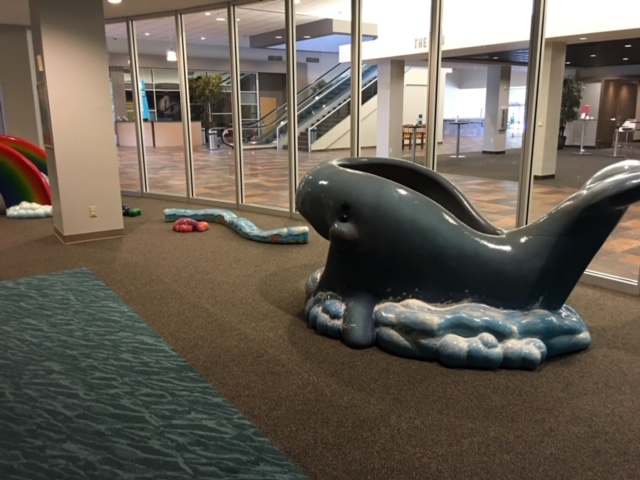 Custom color carpet for our SafeLandings Indoor Playground Carpeting with a whale structure.